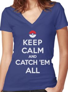 Keep Calm and Pokemon Women's Fitted V-Neck T-Shirt