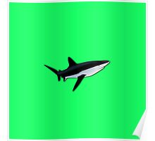 Great White Shark  on Acid Green Fluorescent Background Poster