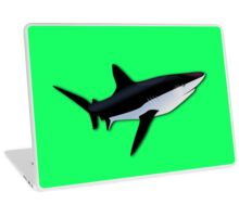 Great White Shark  on Acid Green Fluorescent Background Laptop Skin