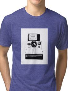 Polaroid Camera: Black and White Tri-blend T-Shirt