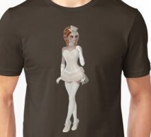 RedHead Woman in Beautiful and Beige Lingerie Dress, Hat, Shoes and Gloves. Steampunk Art Unisex T-Shirt