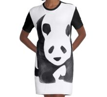 """Panda-monium"" Watercolor Panda Graphic T-Shirt Dress"