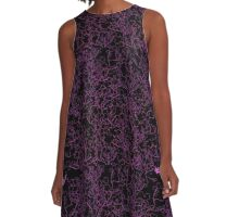 Black and Purple Pattern A-Line Dress