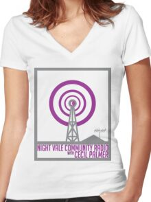 Night Vale Community Radio Women's Fitted V-Neck T-Shirt