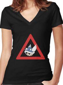 Danger Blue Shell Women's Fitted V-Neck T-Shirt