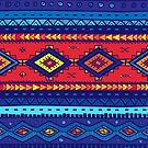 Red and Bright Blue African Pattern Products by Vickie Emms