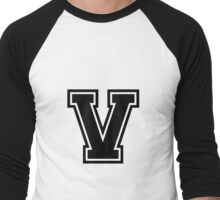 "Letter ""V""  - Varsity / Collegiate Font - Black Print Men's Baseball ¾ T-Shirt"