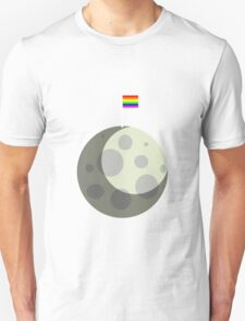 Rainbow Gay Pride Flag On Moon Unisex T-Shirt