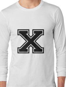 """Letter """"X""""  - Varsity / Collegiate Font - Black Print Long Sleeve T-Shirt"""