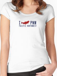 Pacific Northwest Fishing. Women's Fitted Scoop T-Shirt