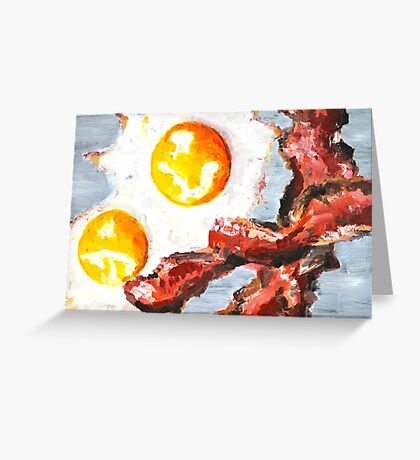 Eggs and Bacon Painting Greeting Card