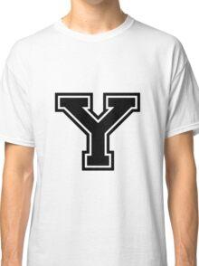 "Letter ""Y""  - Varsity / Collegiate Font - Black Print Classic T-Shirt"
