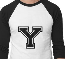 "Letter ""Y""  - Varsity / Collegiate Font - Black Print Men's Baseball ¾ T-Shirt"
