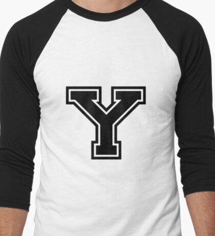 """Letter """"Y""""  - Varsity / Collegiate Font - Black Print Men's Baseball ¾ T-Shirt"""