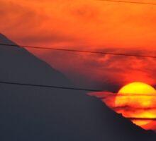SUNSET OVER MOUNT HOOD Sticker