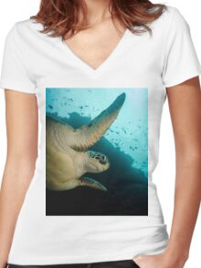 A Green Turtle In Indonesia Women's Fitted V-Neck T-Shirt