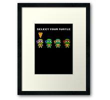 Select Your Turtle (Donatello) - TMNT Pixel Art Framed Print