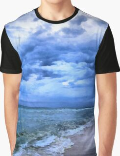 Ocean Beach On A Cloudy Day Graphic T-Shirt