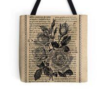 Antique Bible Roses Tote Bag