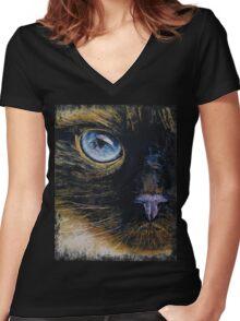 Burmese Cat Women's Fitted V-Neck T-Shirt