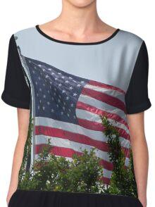American Flag Chiffon Top