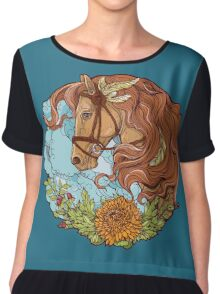 Colorful portrait of a horse with clouds and flowers. Chiffon Top