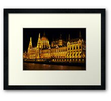 Hungarian Parliament at night. Budapest, Hungary Framed Print