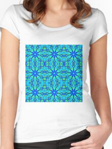 Mandala With Blue Aqua And Yellow - Tiled Women's Fitted Scoop T-Shirt