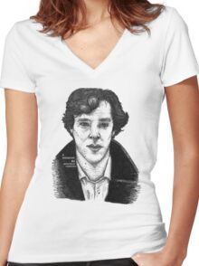 Sherlock black white 00002 Women's Fitted V-Neck T-Shirt