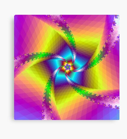 Whirligig in Yellow Blue and Green Canvas Print