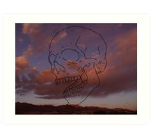 skull w/ some clouds behind Art Print