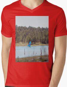 Boat on Lake Mary Mens V-Neck T-Shirt