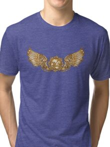 Mechanical wings in steampunk style with clockwork. Gold and black color. Tri-blend T-Shirt