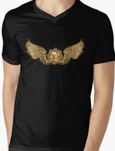 Mechanical wings in steampunk style with clockwork. Gold and black color. Mens V-Neck T-Shirt
