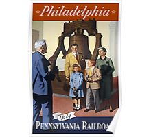 Philadelphia Go By Pennsylvania Railroad Vintage Travel Poster Poster