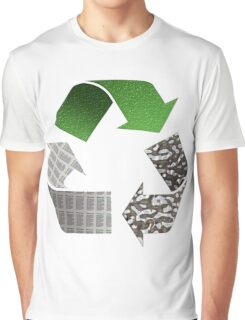 Recycle symbol with newspaper glass and metal Graphic T-Shirt