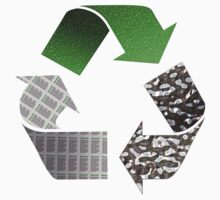 Recycle symbol with newspaper glass and metal Kids Tee