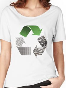 Recycle symbol with newspaper glass and metal Women's Relaxed Fit T-Shirt