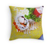 Comfort Food: Crab Stick Sushi Throw Pillow