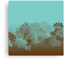 Teal and Brown Azalea pattern Canvas Print