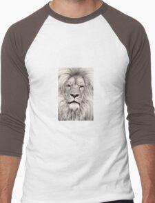 Light Sepia Toned Lion Portrait Men's Baseball ¾ T-Shirt