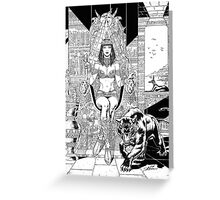 Egyptian Queen with Panther by Al Rio Greeting Card