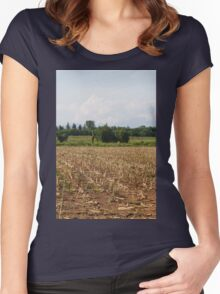 field planted with corn on the cob Women's Fitted Scoop T-Shirt