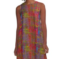 Abstract Painted Tartan A-Line Dress