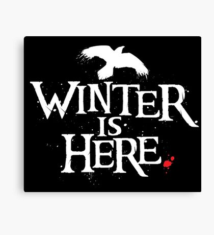 Winter is Here - Small Raven on Black Canvas Print