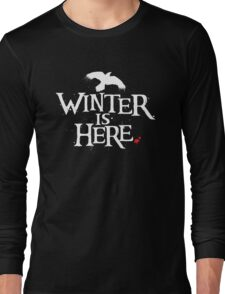 Winter is Here - Small Raven on Black Long Sleeve T-Shirt