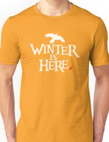 Winter is Here - Small Raven on Black Unisex T-Shirt