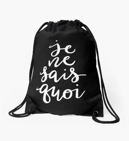 Je Ne Sais Quoi —Version 2 (Black Background) Drawstring Bag