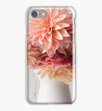 Coral pink dahlias in white jug  iPhone Case/Skin