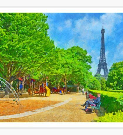 Enjoying the Champ de Mars near the Eiffel Tower Sticker